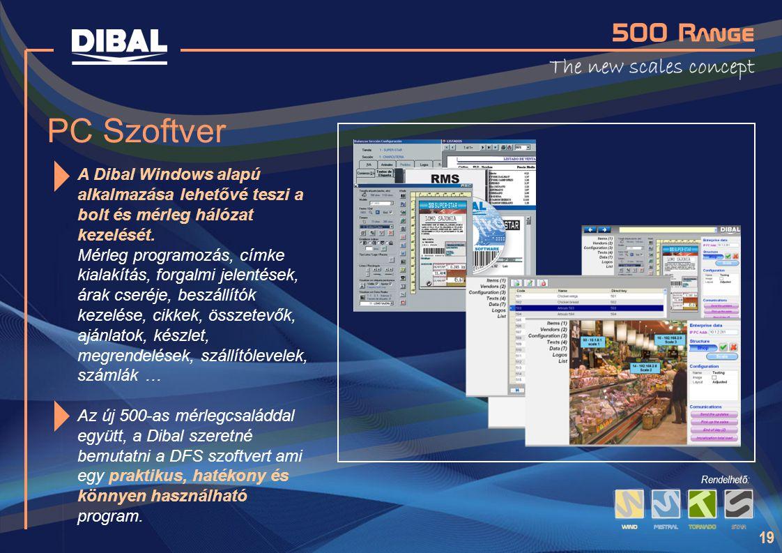 19 PC Szoftver A Dibal Windows alapú alkalmazása lehetővé teszi a bolt és mérleg hálózat kezelését. Mérleg programozás, címke kialakítás, forgalmi jel
