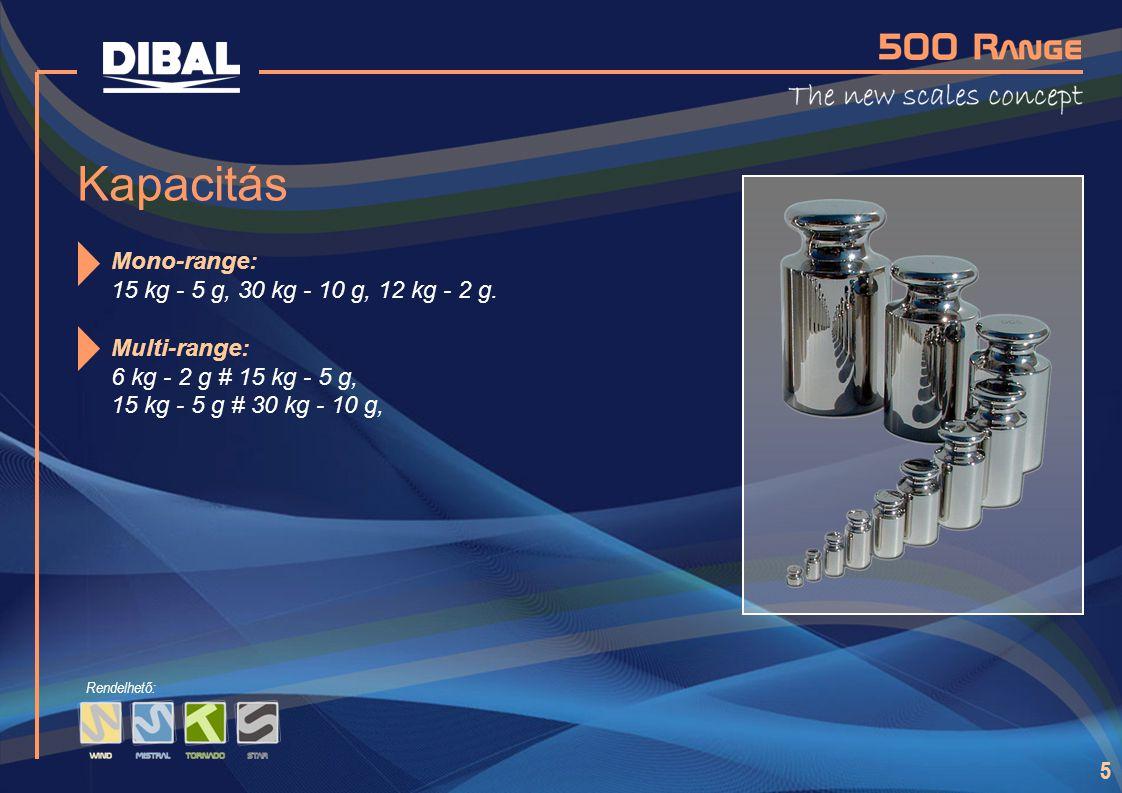 5 Kapacitás Mono-range: 15 kg - 5 g, 30 kg - 10 g, 12 kg - 2 g. Multi-range: 6 kg - 2 g # 15 kg - 5 g, 15 kg - 5 g # 30 kg - 10 g, Rendelhető: