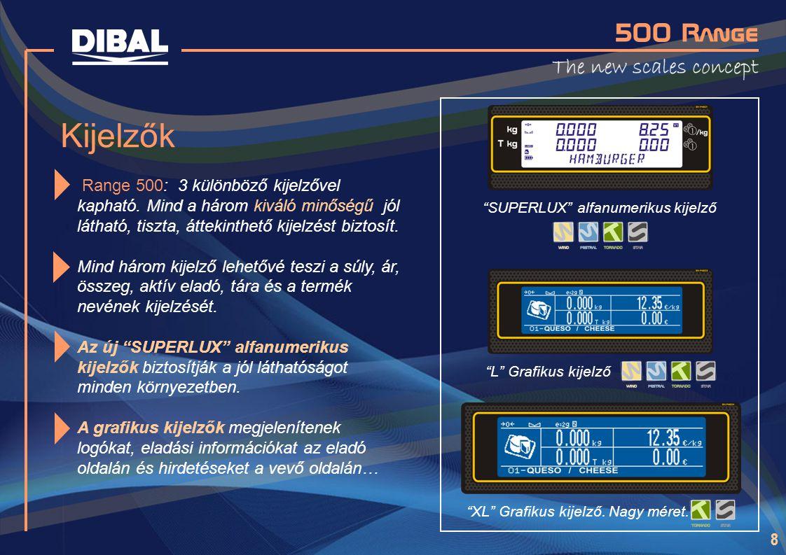 8 Kijelzők Range 500: 3 különböző kijelzővel kapható. Mind a három kiváló minőségű jól látható, tiszta, áttekinthető kijelzést biztosít. Mind három ki