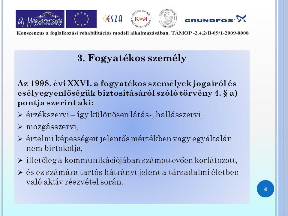 3. Fogyatékos személy Az 1998. évi XXVI. a fogyatékos személyek jogairól és esélyegyenlőségük biztosításáról szóló törvény 4. § a) pontja szerint aki: