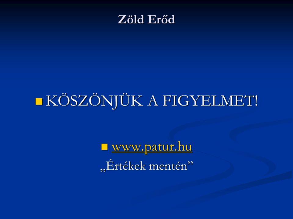 """Zöld Erőd  KÖSZÖNJÜK A FIGYELMET!  www.patur.hu www.patur.hu """"Értékek mentén"""