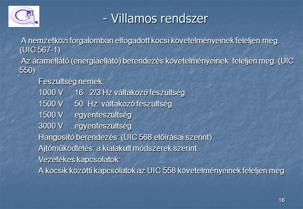 16 - Villamos rendszer - Villamos rendszer A nemzetközi forgalomban elfogadott kocsi követelményeinek feleljen meg. (UIC 567-1) A nemzetközi forgalomb