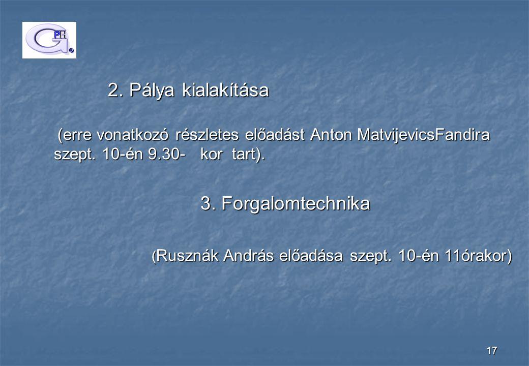 17 2. Pálya kialakítása 2. Pálya kialakítása (erre vonatkozó részletes előadást Anton MatvijevicsFandira szept. 10-én 9.30-kor tart). (erre vonatkozó