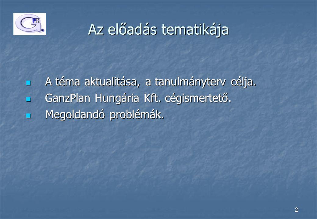 2 Az előadás tematikája  A téma aktualitása, a tanulmányterv célja.  GanzPlan Hungária Kft. cégismertető.  Megoldandó problémák.