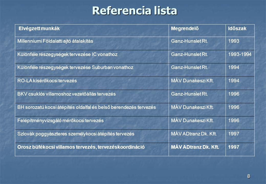 8 Referencia lista Elvégzett munkákMegrendelőIdőszak Millenniumi Földalatti ajtó átalakításGanz-Hunslet Rt.1993 Különféle részegységek tervezése IC vo