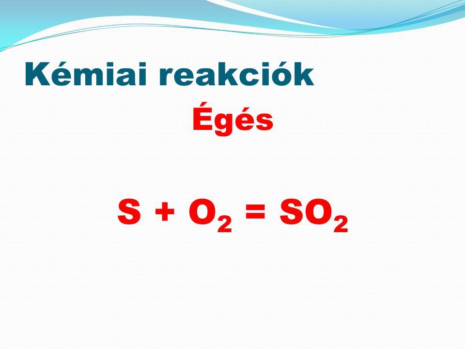 Kémiai reakciók Égés S + O 2 = SO 2
