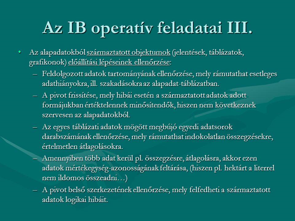 Az IB operatív feladatai III. •Az alapadatokból származtatott objektumok (jelentések, táblázatok, grafikonok) előállítási lépéseinek ellenőrzése: –Fel