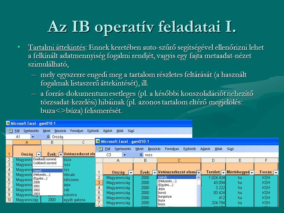 Az IB operatív feladatai I. •Tartalmi áttekintés: Ennek keretében auto-szűrő segítségével ellenőrizni lehet a felkínált adatmennyiség fogalmi rendjét,