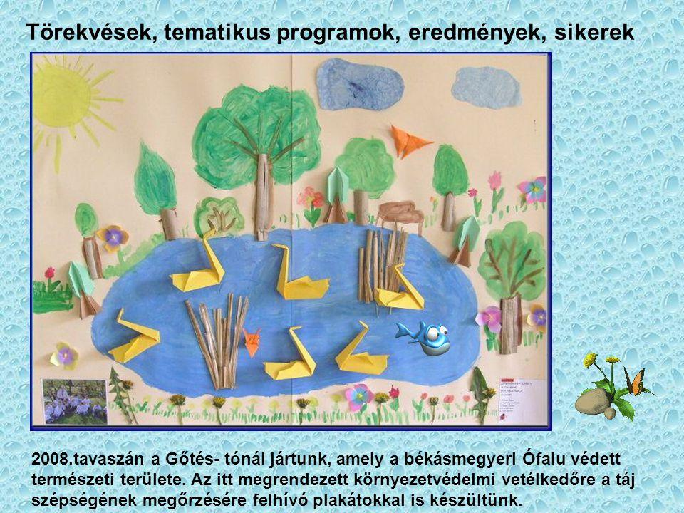 Törekvések, tematikus programok, eredmények, sikerek 2008.tavaszán a Gőtés- tónál jártunk, amely a békásmegyeri Ófalu védett természeti területe. Az i