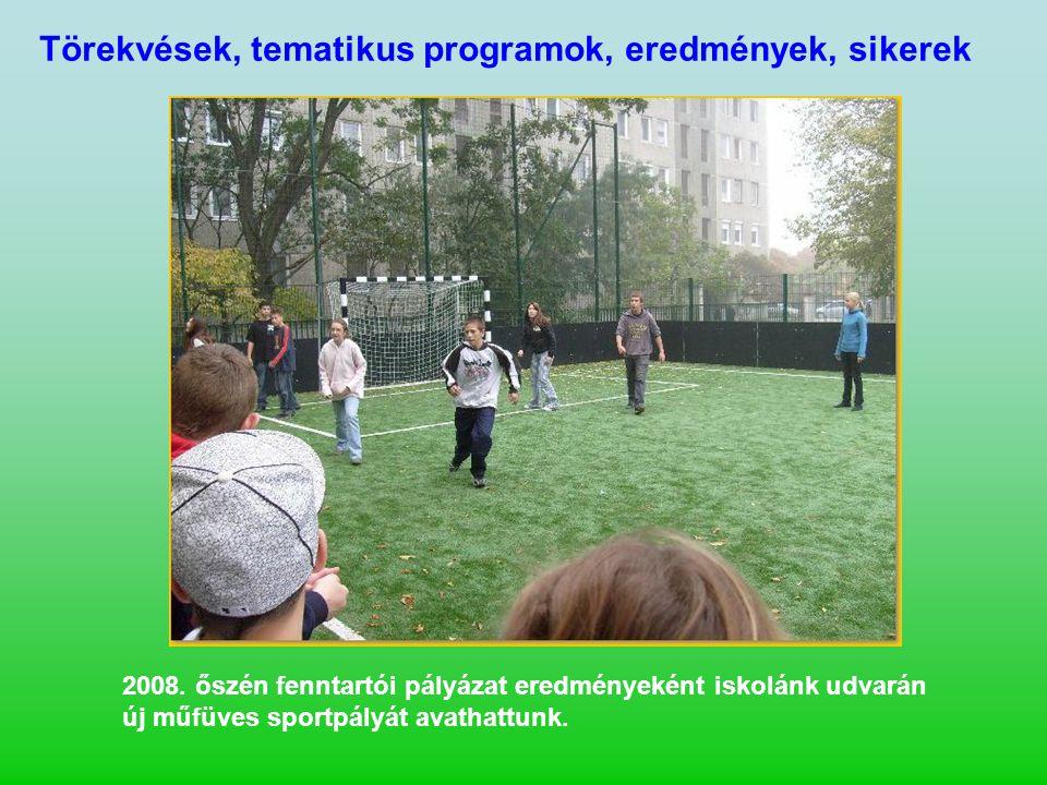 2008. őszén fenntartói pályázat eredményeként iskolánk udvarán új műfüves sportpályát avathattunk.