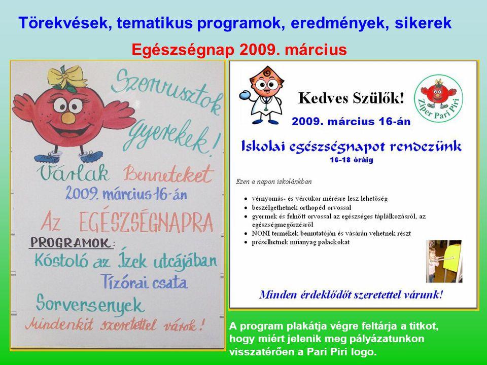 Törekvések, tematikus programok, eredmények, sikerek Egészségnap 2009. március A program plakátja végre feltárja a titkot, hogy miért jelenik meg pály