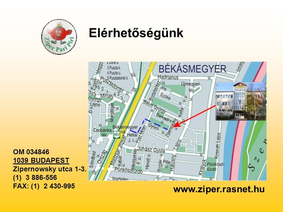 OM 034846 1039 BUDAPEST Zipernowsky utca 1-3. (1) 3 886-556 FAX: (1) 2 430-995 www.ziper.rasnet.hu Elérhetőségünk