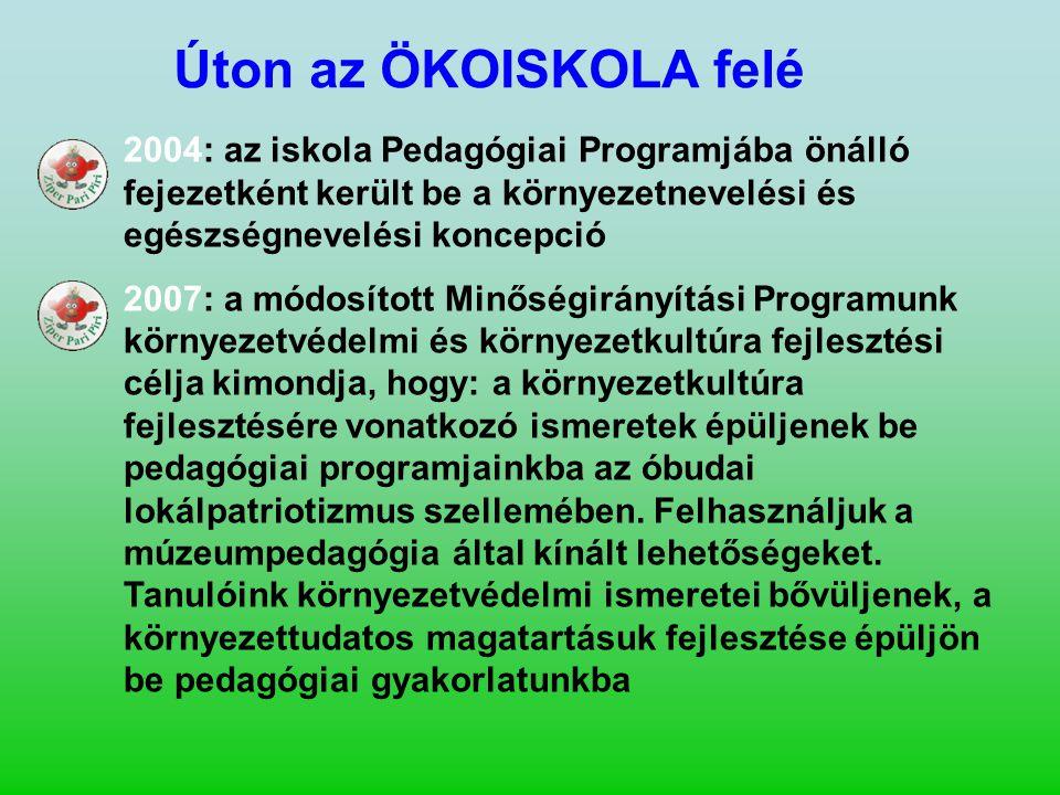 Úton az ÖKOISKOLA felé 2004: az iskola Pedagógiai Programjába önálló fejezetként került be a környezetnevelési és egészségnevelési koncepció 2007: a m