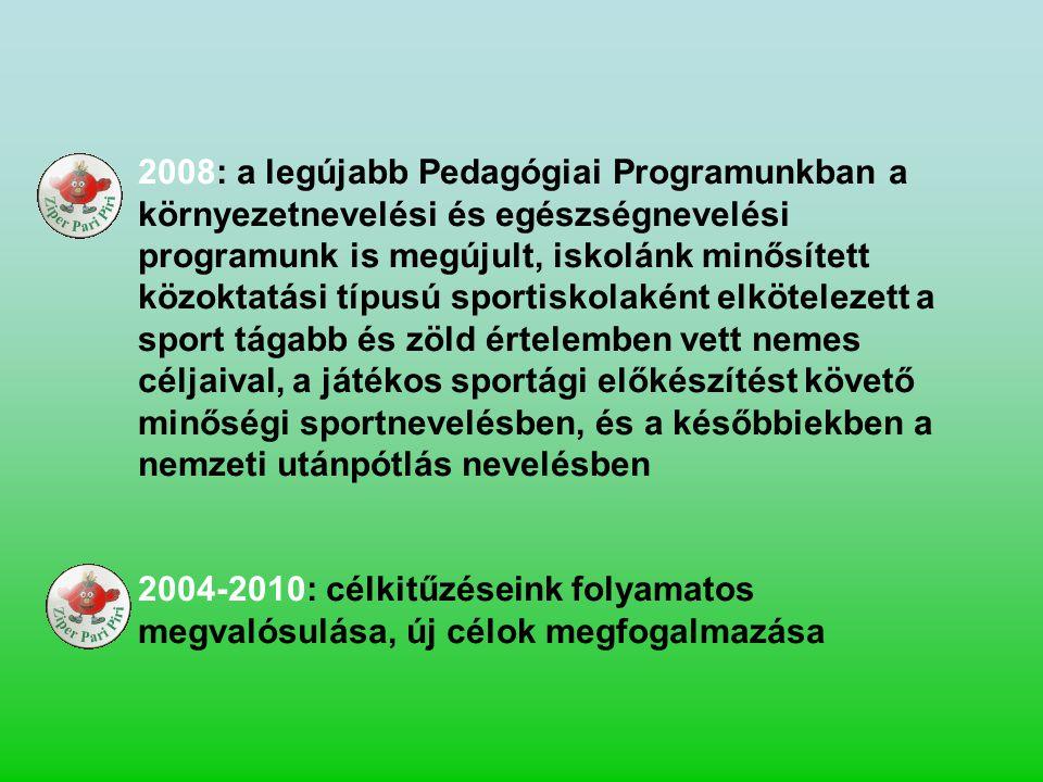 2008: a legújabb Pedagógiai Programunkban a környezetnevelési és egészségnevelési programunk is megújult, iskolánk minősített közoktatási típusú sport