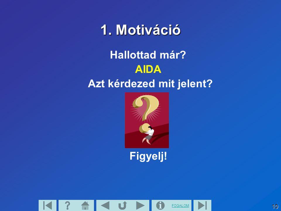 FOGALOM 10 1. Motiváció Hallottad már? AIDA Azt kérdezed mit jelent? Figyelj!