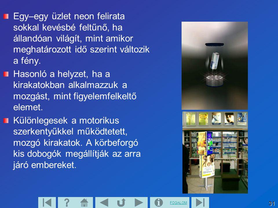 FOGALOM 31 Egy–egy üzlet neon felirata sokkal kevésbé feltűnő, ha állandóan világít, mint amikor meghatározott idő szerint változik a fény. Hasonló a