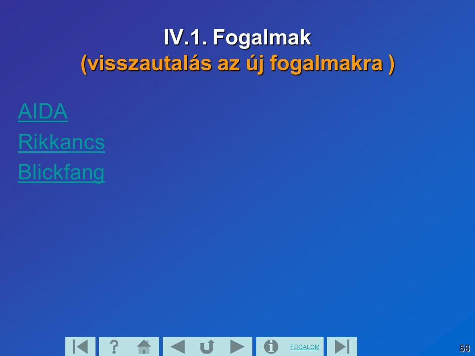 FOGALOM 58 IV.1. Fogalmak (visszautalás az új fogalmakra ) AIDA Rikkancs Blickfang