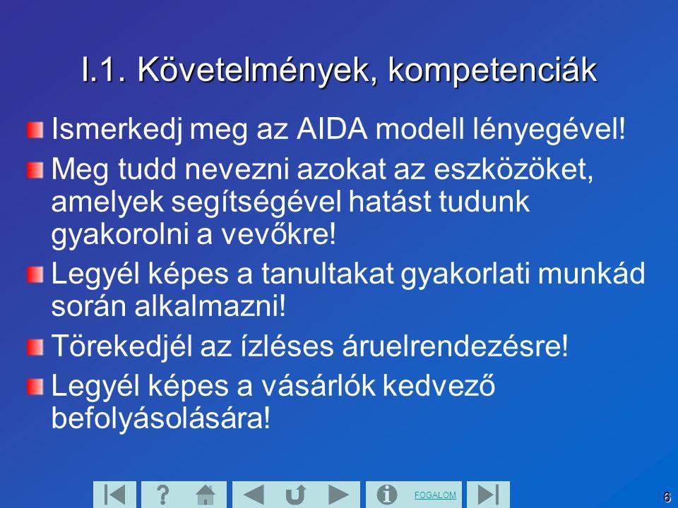 FOGALOM 6 I.1. Követelmények, kompetenciák Ismerkedj meg az AIDA modell lényegével! Meg tudd nevezni azokat az eszközöket, amelyek segítségével hatást