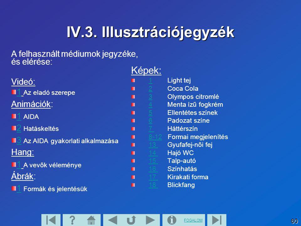 FOGALOM 60 IV.3. Illusztrációjegyzék A felhasznált médiumok jegyzéke, és elérése: Videó: 11 Az eladó szerepe Animációk: 11 AIDA 22 Hatáskeltés 33 Az A