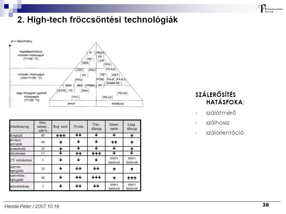 38 Hende Péter / 2007.10.19. 2. High-tech fröccsöntési technológiák SZÁLERŐSÍTÉS HATÁSFOKA : -szálátmérő -szálhossz -szálorientáció