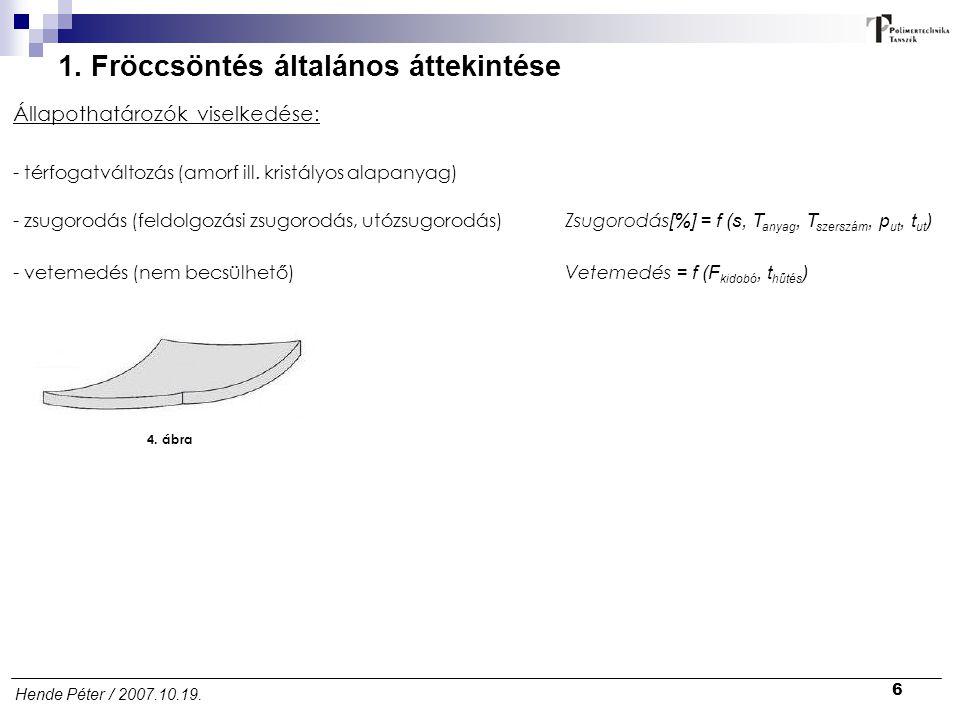 6 Hende Péter / 2007.10.19. 1. Fröccsöntés általános áttekintése Zsugorodás [%] = f (s, T anyag, T szerszám, p ut, t ut ) Állapothatározók viselkedése