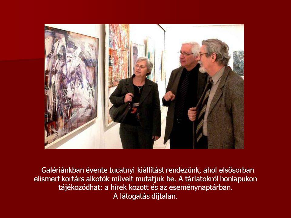 Galériánkban évente tucatnyi kiállítást rendezünk, ahol elsősorban elismert kortárs alkotók műveit mutatjuk be.