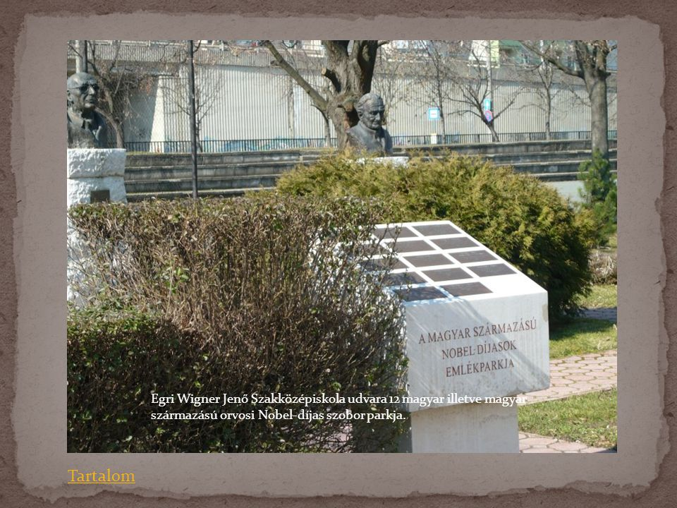 Egri Wigner Jenő Szakközépiskola udvara 12 magyar illetve magyar származású orvosi Nobel-díjas szobor parkja. Tartalom