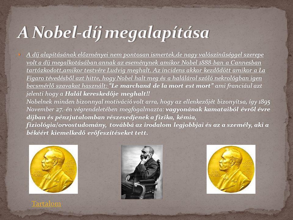  A díj alapításának előzményei nem pontosan ismertek,de nagy valószínűséggel szerepe volt a díj megalkotásában annak az eseménynek amikor Nobel 1888-