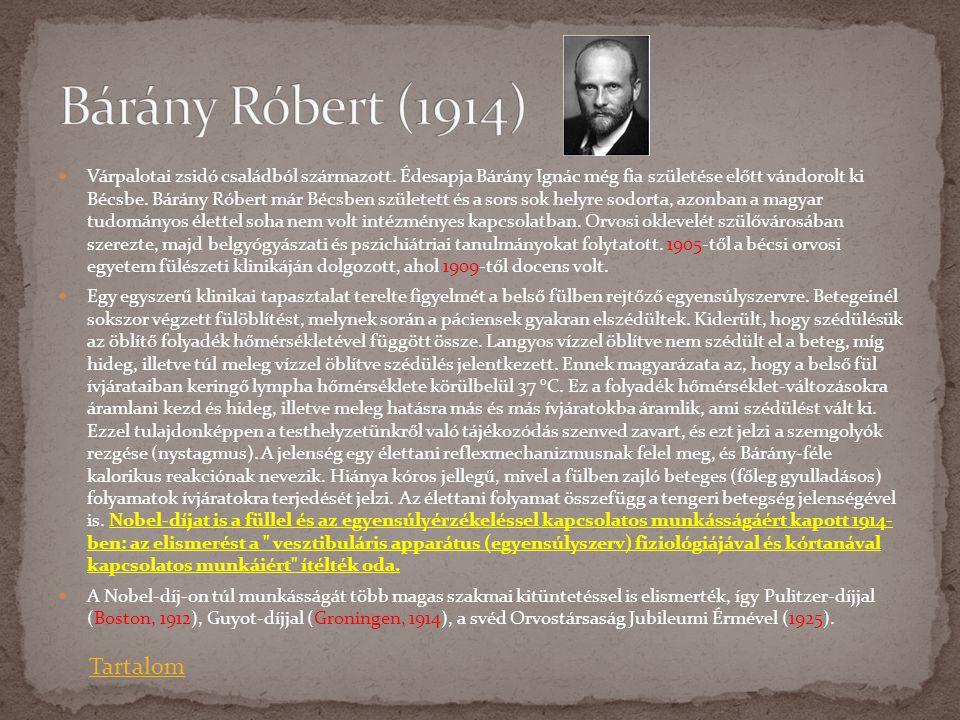  Várpalotai zsidó családból származott. Édesapja Bárány Ignác még fia születése előtt vándorolt ki Bécsbe. Bárány Róbert már Bécsben született és a s