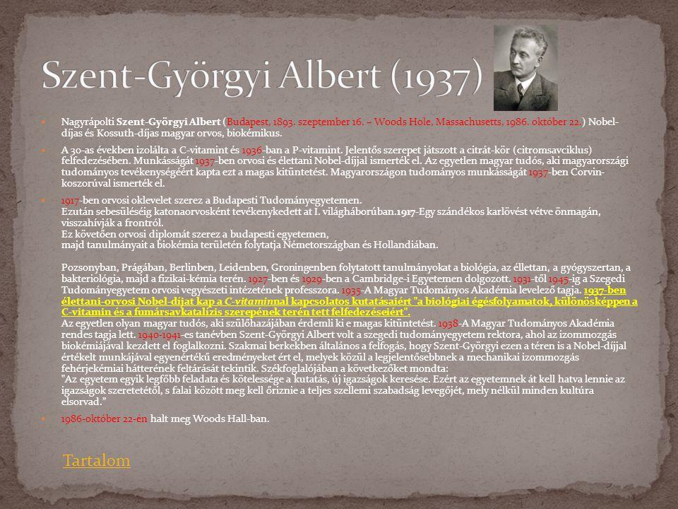  Nagyrápolti Szent-Györgyi Albert (Budapest, 1893. szeptember 16. – Woods Hole, Massachusetts, 1986. október 22.) Nobel- díjas és Kossuth-díjas magya