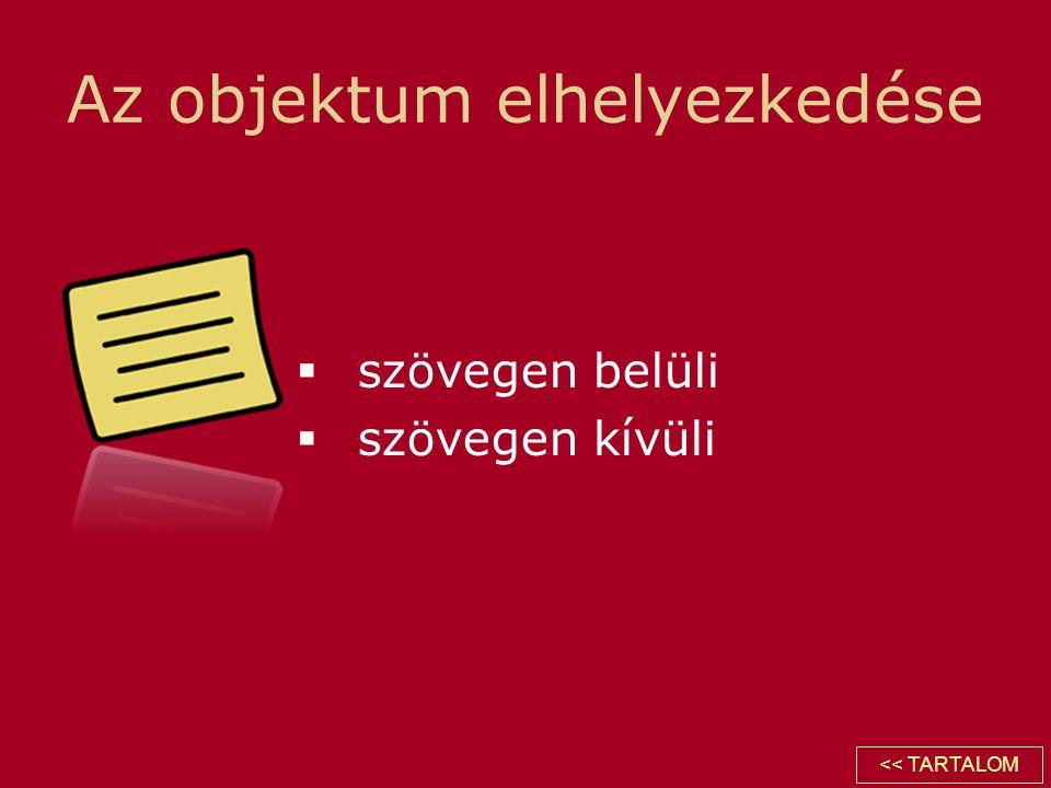 Az objektum elhelyezkedése  szövegen belüli  szövegen kívüli << TARTALOM