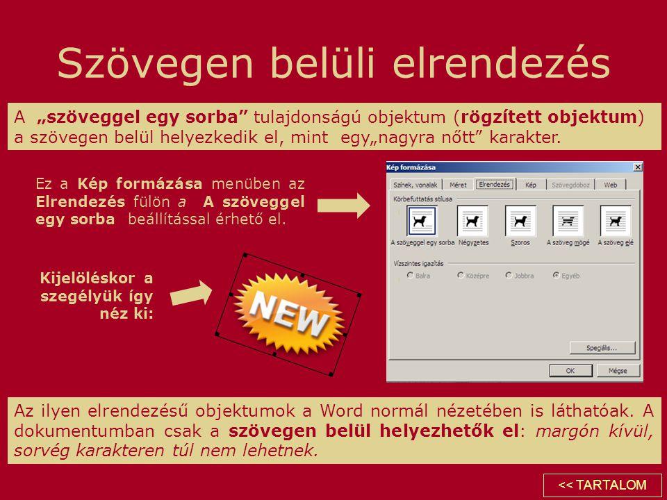 """Szövegen belüli elrendezés A """"szöveggel egy sorba"""" tulajdonságú objektum (rögzített objektum) a szövegen belül helyezkedik el, mint egy""""nagyra nőtt"""" k"""