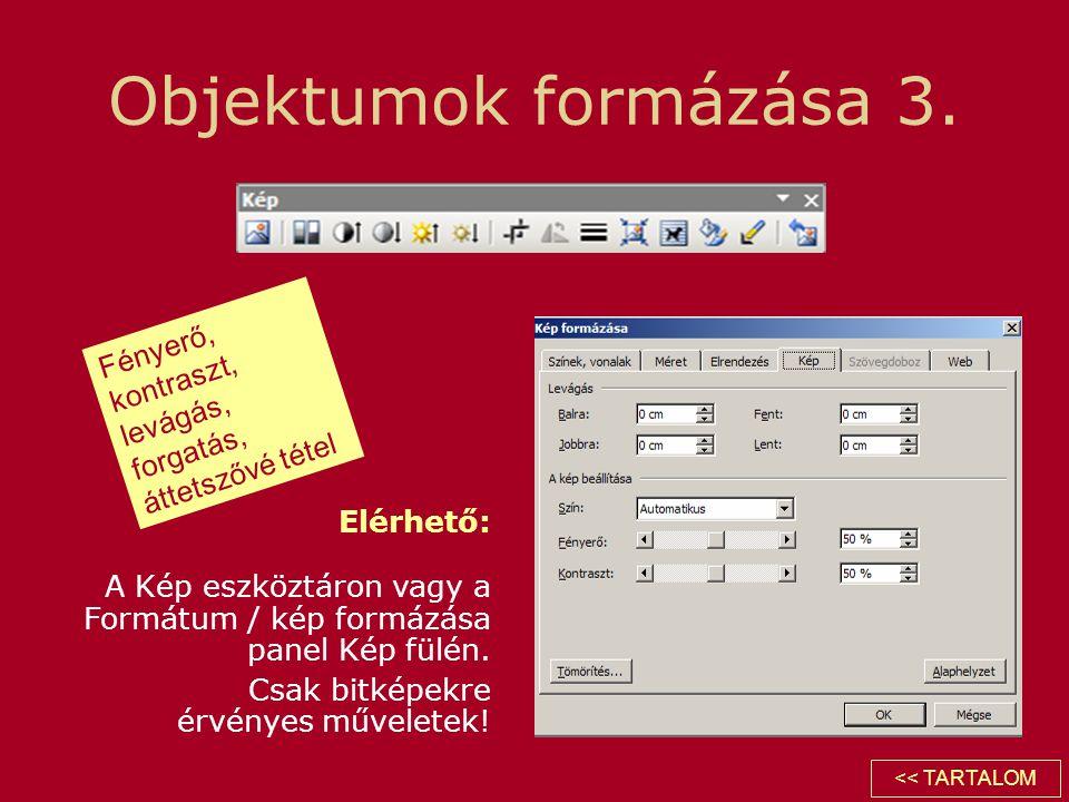 Objektumok formázása 3. Elérhető: A Kép eszköztáron vagy a Formátum / kép formázása panel Kép fülén. Csak bitképekre érvényes műveletek! Fényerő, kont