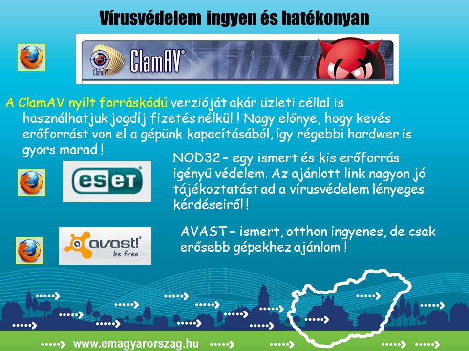Vírusvédelem ingyen és hatékonyan A ClamAV nyílt forráskódú verzióját akár üzleti céllal is használhatjuk jogdíj fizetés nélkül ! Nagy előnye, hogy ke