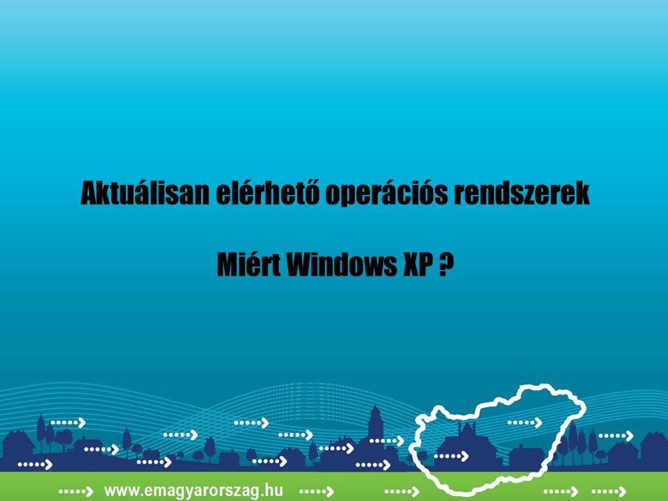 Aktuálisan elérhető operációs rendszerek Miért Windows XP ?