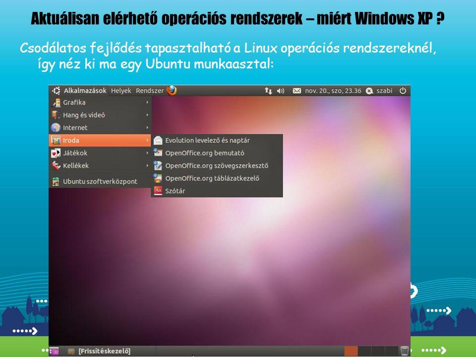 Aktuálisan elérhető operációs rendszerek – miért Windows XP ? Csodálatos fejlődés tapasztalható a Linux operációs rendszereknél, így néz ki ma egy Ubu