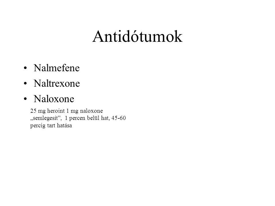 "Antidótumok •Nalmefene •Naltrexone •Naloxone 25 mg heroint 1 mg naloxone ""semlegesít , 1 percen belül hat, 45-60 percig tart hatása"