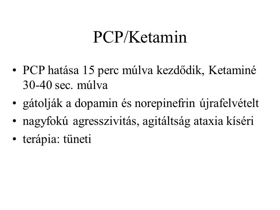 PCP/Ketamin •PCP hatása 15 perc múlva kezdődik, Ketaminé 30-40 sec.