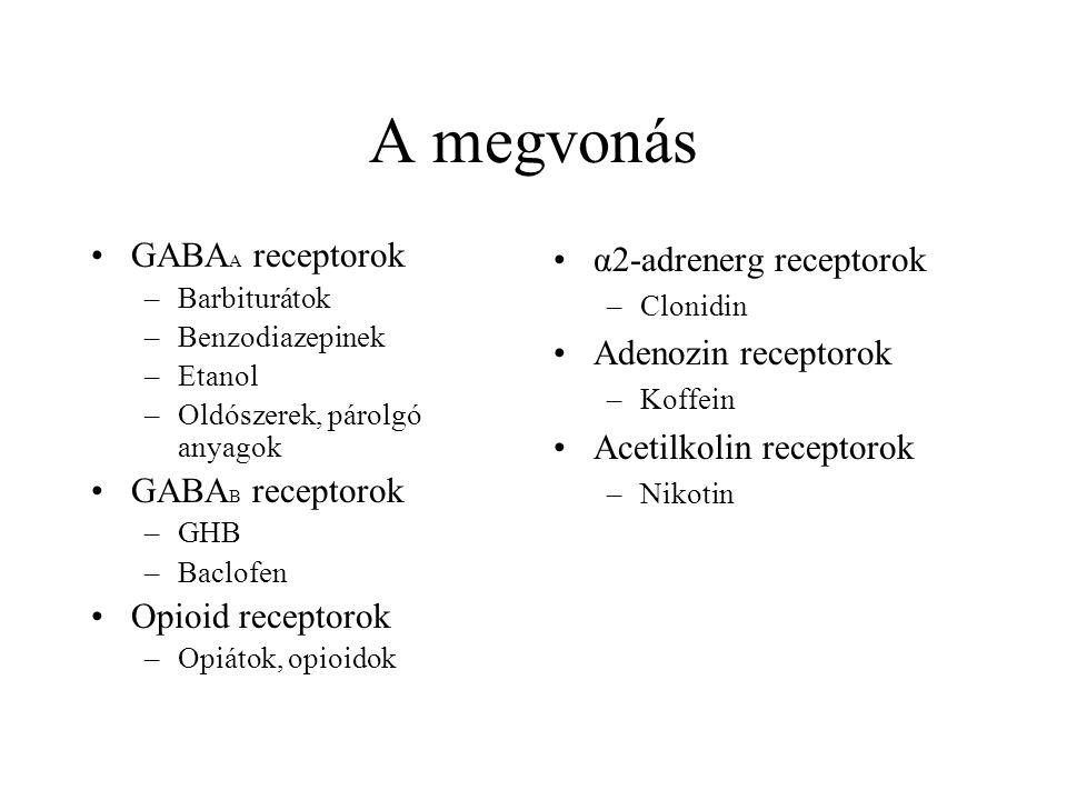 A megvonás •GABA A receptorok –Barbiturátok –Benzodiazepinek –Etanol –Oldószerek, párolgó anyagok •GABA B receptorok –GHB –Baclofen •Opioid receptorok –Opiátok, opioidok •α2-adrenerg receptorok –Clonidin •Adenozin receptorok –Koffein •Acetilkolin receptorok –Nikotin