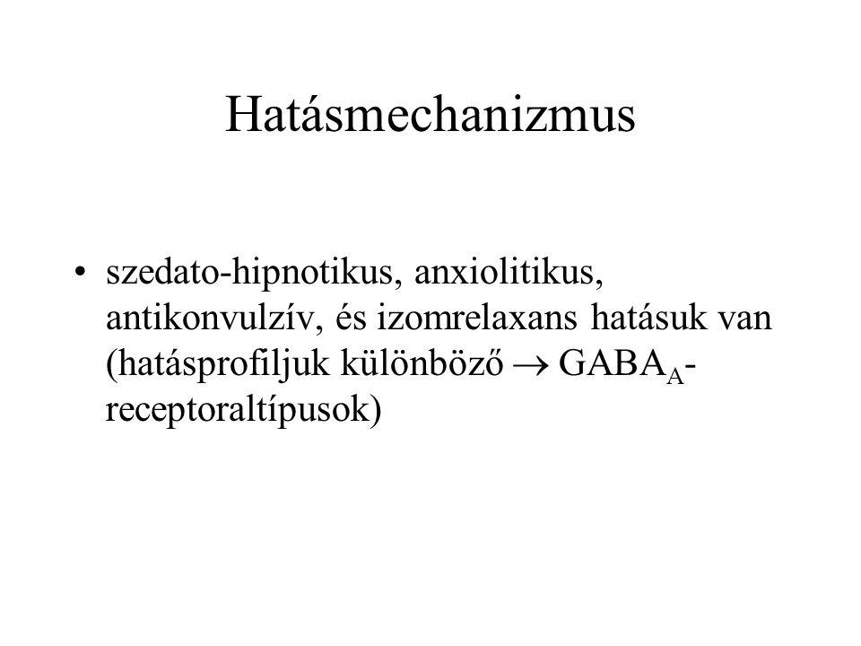 Hatásmechanizmus •szedato-hipnotikus, anxiolitikus, antikonvulzív, és izomrelaxans hatásuk van (hatásprofiljuk különböző  GABA A - receptoraltípusok)
