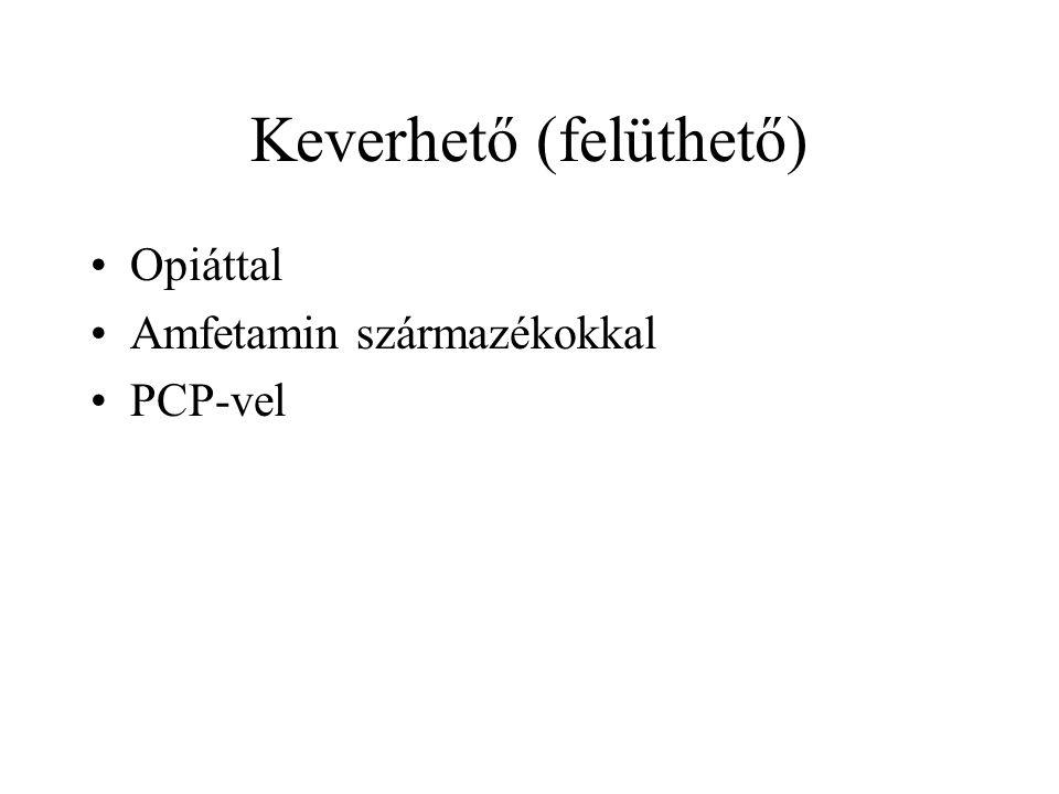 Keverhető (felüthető) •Opiáttal •Amfetamin származékokkal •PCP-vel