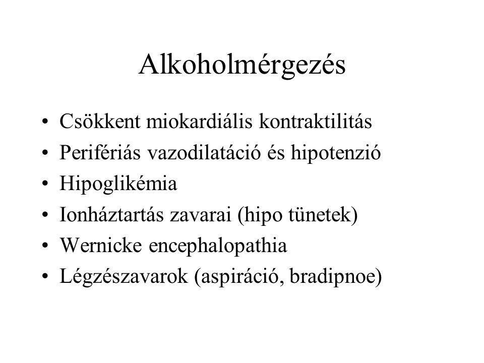 Alkoholmérgezés •Csökkent miokardiális kontraktilitás •Perifériás vazodilatáció és hipotenzió •Hipoglikémia •Ionháztartás zavarai (hipo tünetek) •Wernicke encephalopathia •Légzészavarok (aspiráció, bradipnoe)