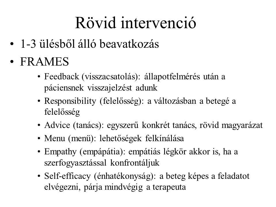 Rövid intervenció •1-3 ülésből álló beavatkozás •FRAMES •Feedback (visszacsatolás): állapotfelmérés után a páciensnek visszajelzést adunk •Responsibility (felelősség): a változásban a betegé a felelősség •Advice (tanács): egyszerű konkrét tanács, rövid magyarázat •Menu (menü): lehetőségek felkínálása •Empathy (empápátia): empátiás légkör akkor is, ha a szerfogyasztással konfrontáljuk •Self-efficacy (énhatékonyság): a beteg képes a feladatot elvégezni, párja mindvégig a terapeuta