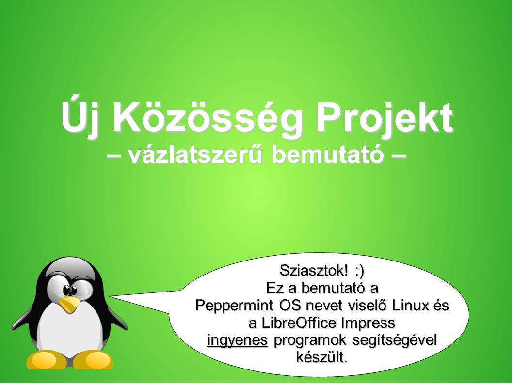 Új Közösség Projekt – vázlatszerű bemutató – Sziasztok! :) Ez a bemutató a Peppermint OS nevet viselő Linux és a LibreOffice Impress ingyenes programo
