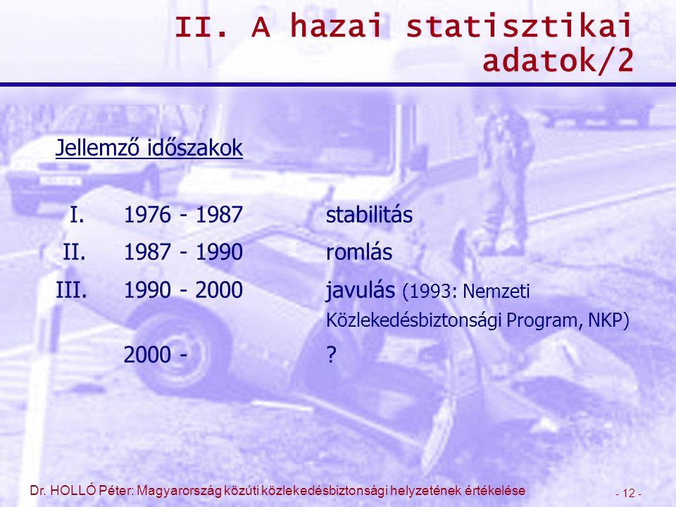 - 12 - Dr. HOLLÓ Péter: Magyarország közúti közlekedésbiztonsági helyzetének értékelése II. A hazai statisztikai adatok/2 Jellemző időszakok I.1976 -
