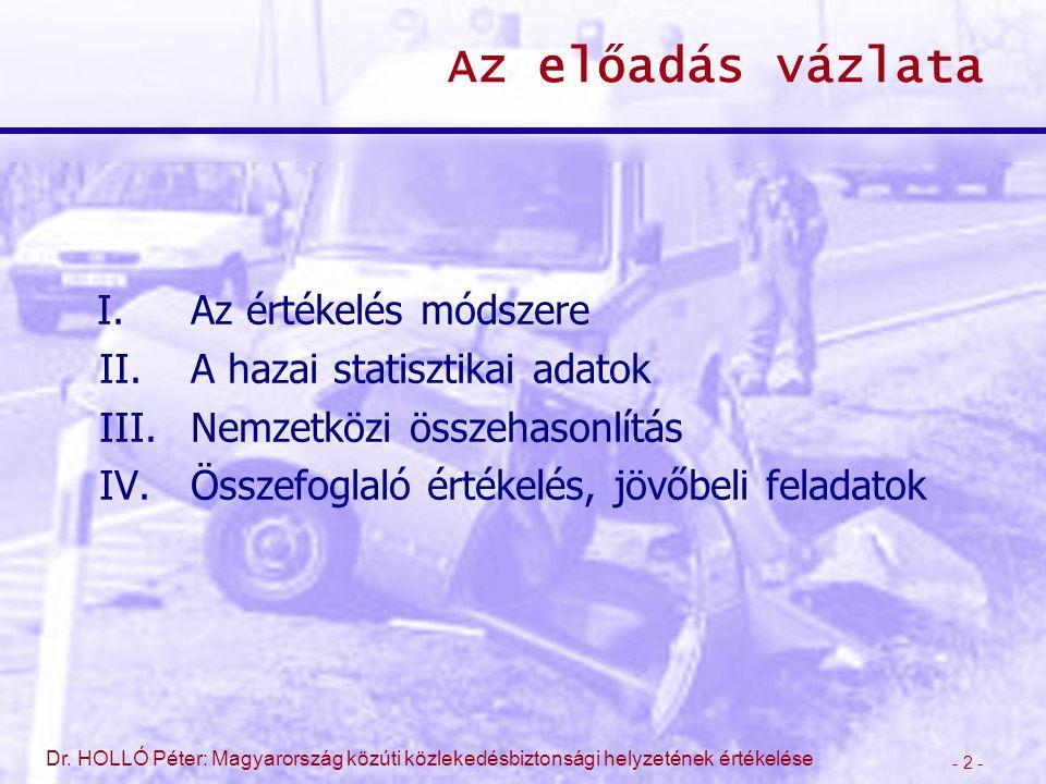 - 2 - Dr. HOLLÓ Péter: Magyarország közúti közlekedésbiztonsági helyzetének értékelése Az előadás vázlata I.Az értékelés módszere II.A hazai statiszti