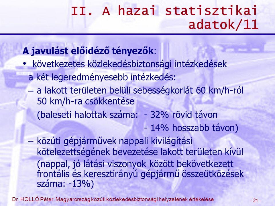 - 21 - Dr. HOLLÓ Péter: Magyarország közúti közlekedésbiztonsági helyzetének értékelése II. A hazai statisztikai adatok/11 A javulást előidéző tényező