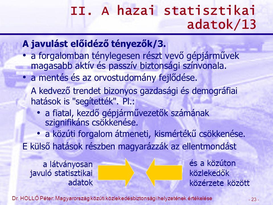- 23 - Dr. HOLLÓ Péter: Magyarország közúti közlekedésbiztonsági helyzetének értékelése II. A hazai statisztikai adatok/13 A javulást előidéző tényező