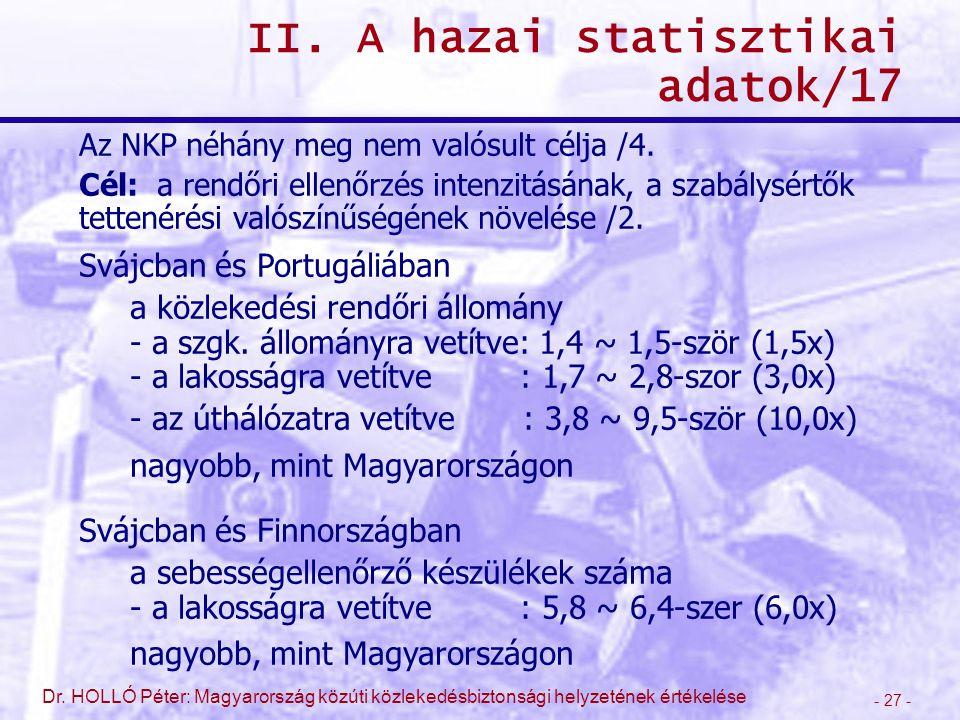 - 27 - Dr. HOLLÓ Péter: Magyarország közúti közlekedésbiztonsági helyzetének értékelése II. A hazai statisztikai adatok/17 Az NKP néhány meg nem valós