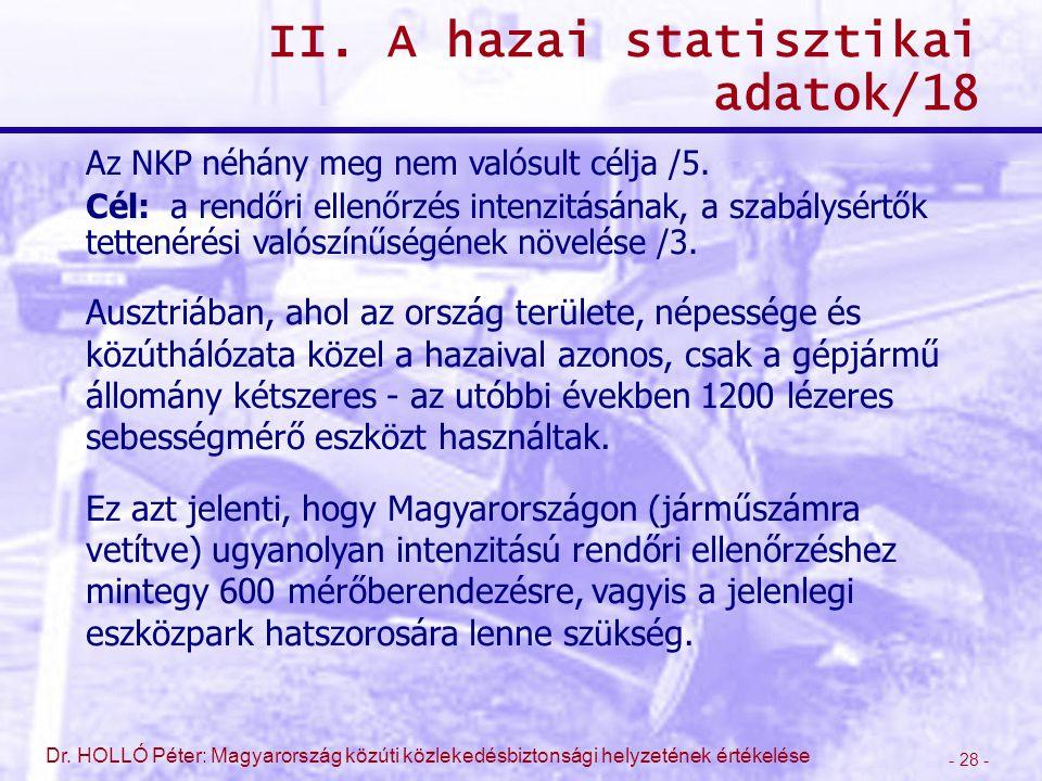 - 28 - Dr. HOLLÓ Péter: Magyarország közúti közlekedésbiztonsági helyzetének értékelése II. A hazai statisztikai adatok/18 Az NKP néhány meg nem valós